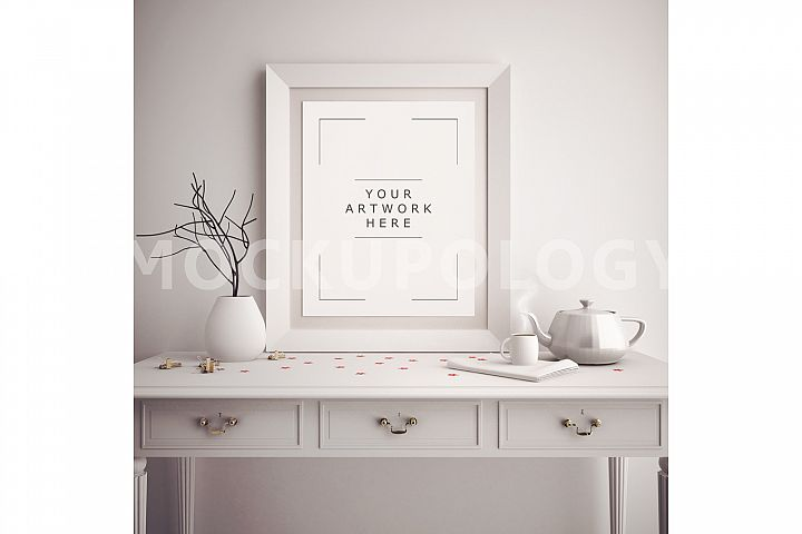 8x10 Vertical White DIGITAL Frame Mockup, Poster Frame Mockup, Wooden French Desk Mockup, Vintage Teapot Styled Frame, INSTANT DOWNLOAD