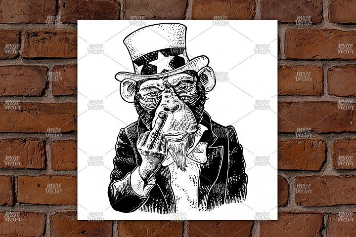 Monkey Uncle Sam middle finger sign Fuck you. Engraving