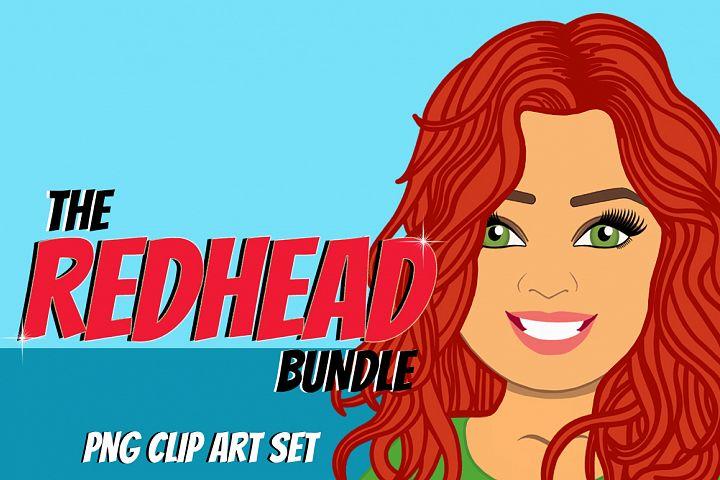 Redhead Woman Clip Art Bundle   Female Avatar   Graphic