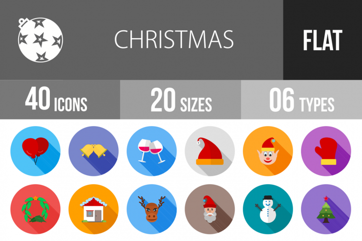 40 Christmas Flat Long Shadow Icons