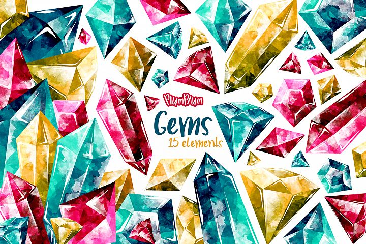 Gems Watercolor Cliparts