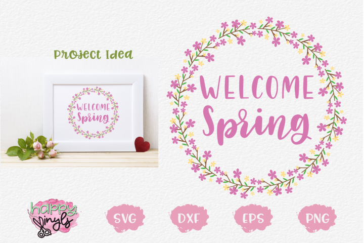 Welcome Spring Floral Wreath - A Spring SVG example