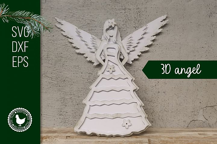 Vintage 3D angel, cardstock design, SVG cut file, Christmas