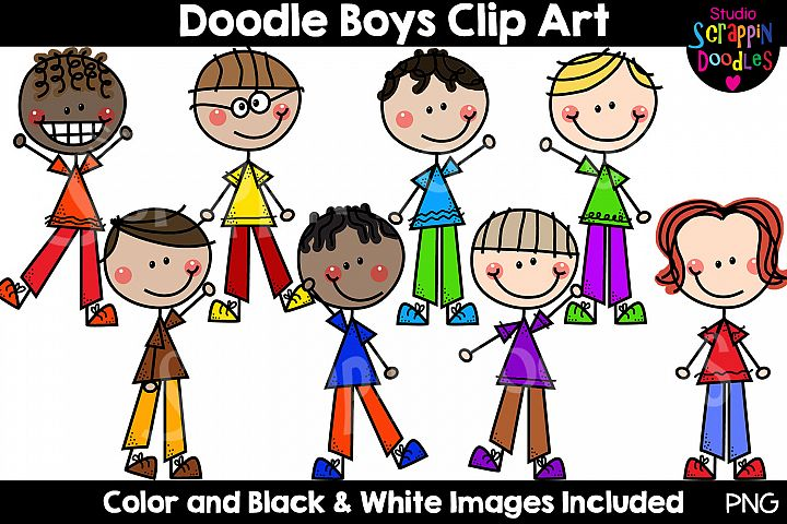 Doodle Boys Clip Art - Cute Stick Figure Kids