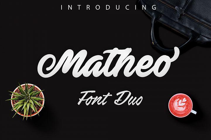Matheo -bold script lettering