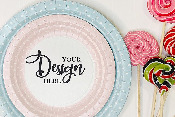 Blue and pink plates mockup Candies Styled Stock Photo