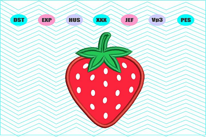 Strawberry Applique Machine Embroidery Design 7 Sizes