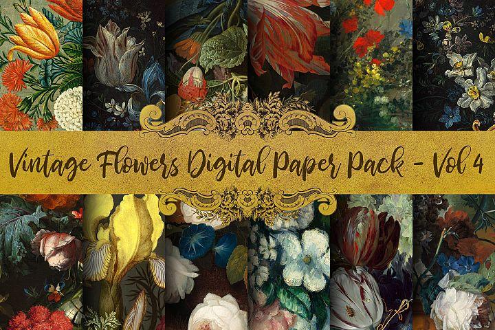 Vintage Flowers Oil Painting Digital Paper - Vol 4
