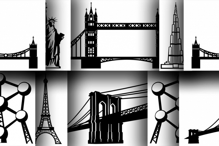 6 Architectural monuments in silhouettes for print, for cut