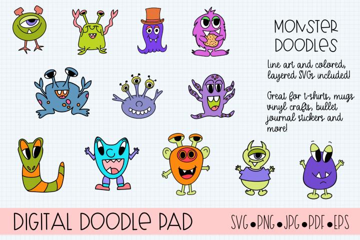 Doodle Monsters - Cricut & Silhouette Cut Files