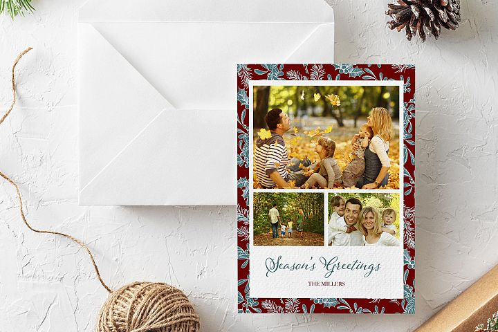 Seasons Greetings Christmas Card Photoshop template