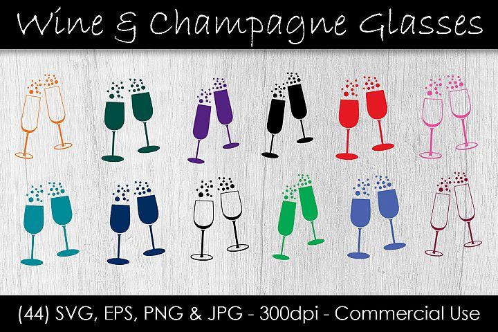 Wine & Champagne Glass SVG Bundle - Wine Glass Clip Art