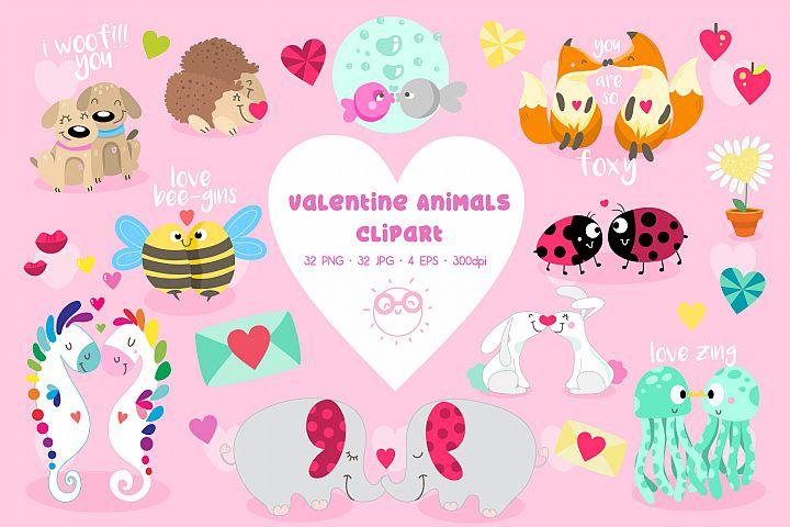 Valentine Animals clipart - Cute Animals for valentines day