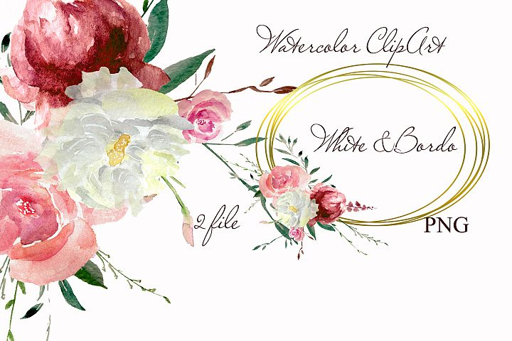 Watercolor bordo & white flowers clipart design invitation