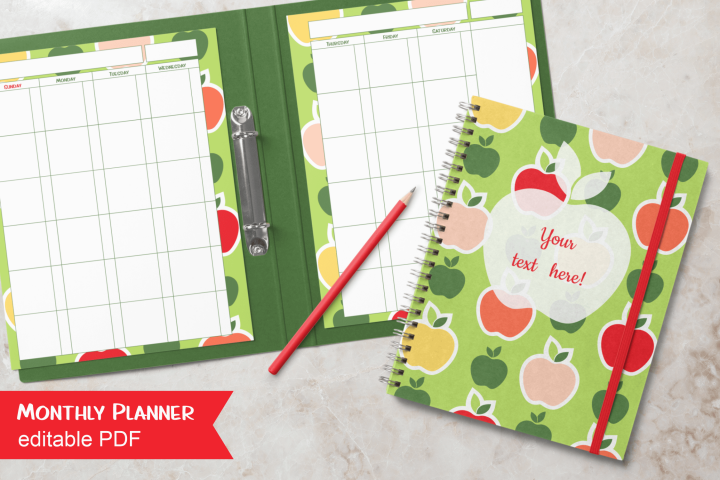 Undated Monthly Planner Apples Letter Size Editable PDF