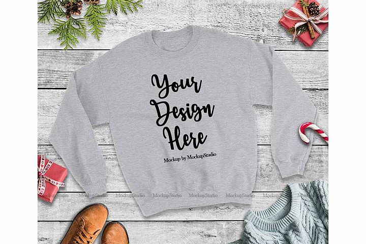 Christmas Winter Sports Grey Unisex Sweatshirt Mock Up