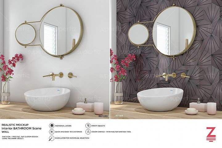 Bathroom PSD Mockup to change the WALL surface SM19