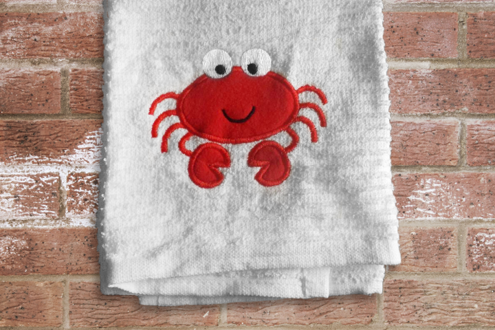 Cute Cartoon Crab Applique Embroidery Design