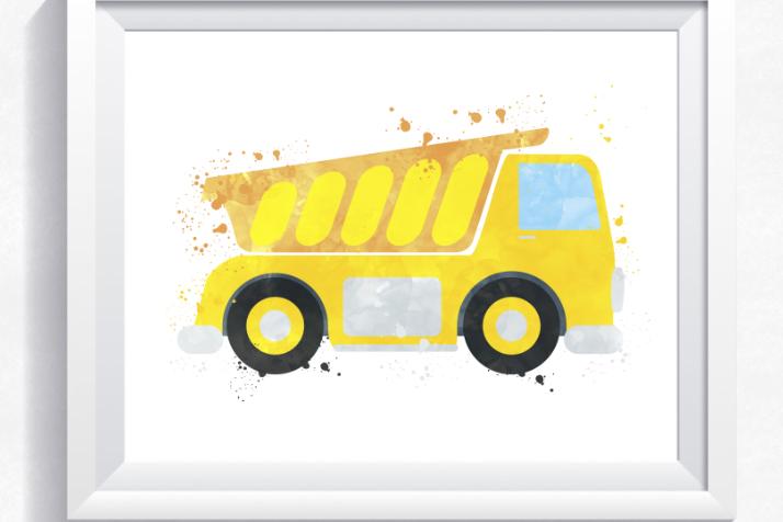 Watercolor dump truck printable, construction print, boy