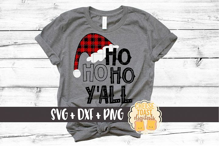 Ho Ho Ho Yall - Christmas SVG Files - Buffalo Plaid Hat