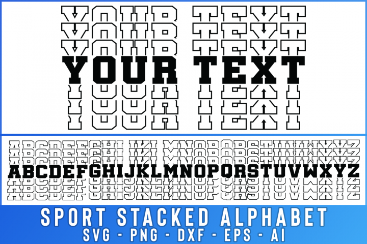 SALE! Sport Stacked Alphabet Cut File, Stacked font svg