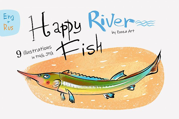Happy River Fish - 9 illustrations
