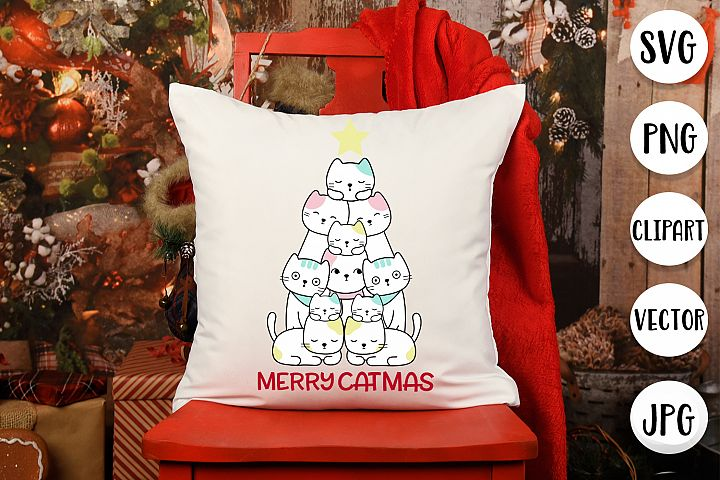 Merry Catmas SVG - Christmas cut files for cat lovers