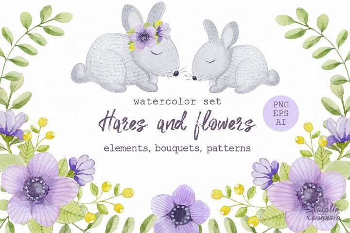 Watercolor hares and flowers