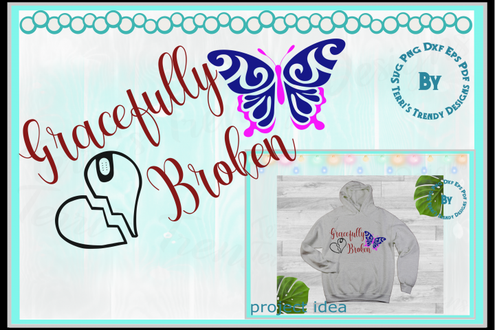 Gracefully broken heart and butterfly survivor faith hope