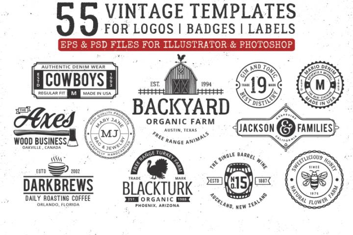 vintage 55 badges logo template