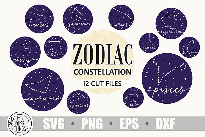 Zodiac constellation svg bundle, Birthday svg, Zodiac sign