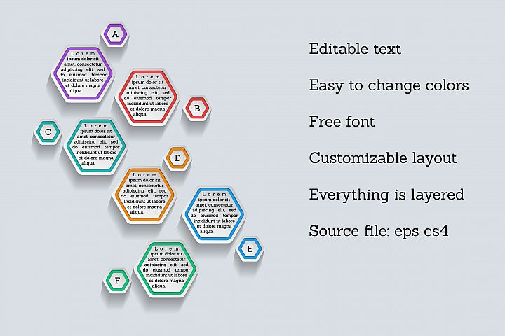 Infographic template - hexagonal shapes