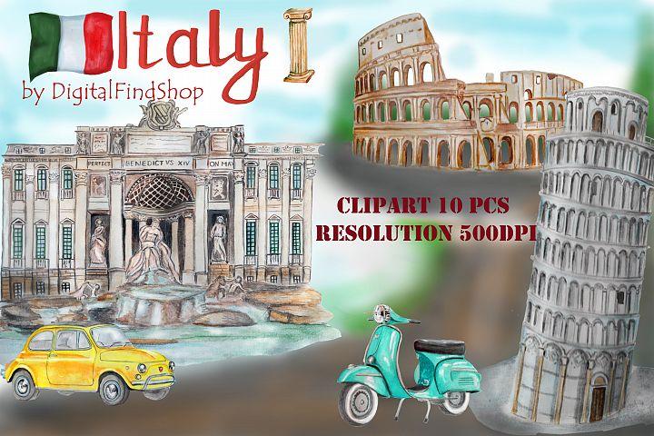 Italy clip art, Rome clipart, watercolor travel, Coliseum,