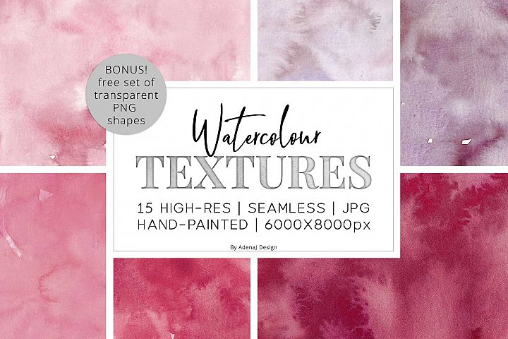 15 Huge Seamless Pink & Grey Watercolor Textures