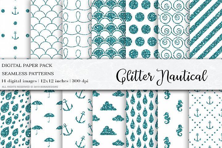 Glitter Nautical Digital Papers, Glitter Patterns, Nautical