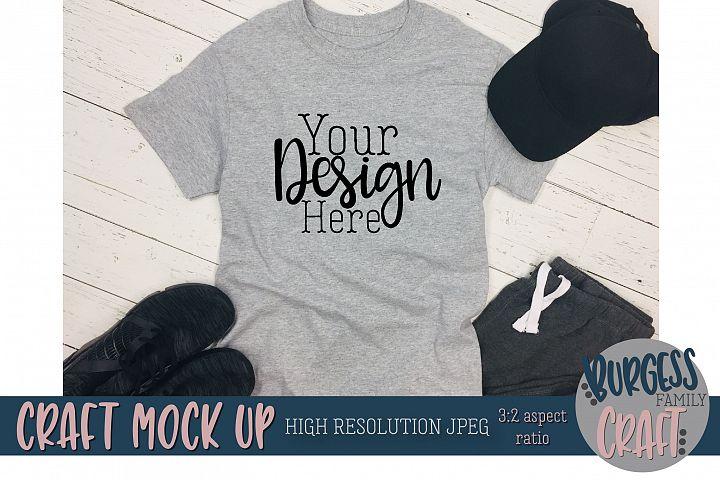 Mens grey t-shirt sweats Craft mock up |High Resolution JPG