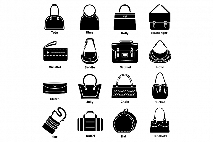 Woman bag types icons set, simple style