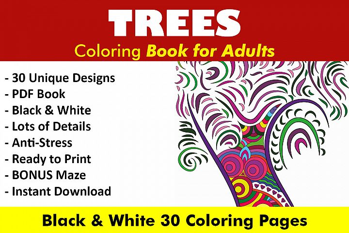 Trees Coloring Book - 30 Unique Coloring Pages