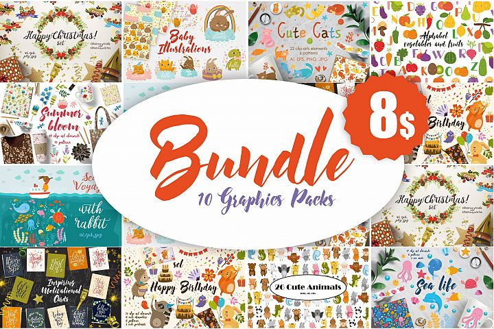 BUNDLE. 10 Cute Graphics Packs