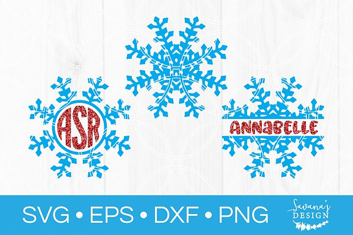 Snowflake Monogram SVG Snowflake SVG Christmas SVG Split