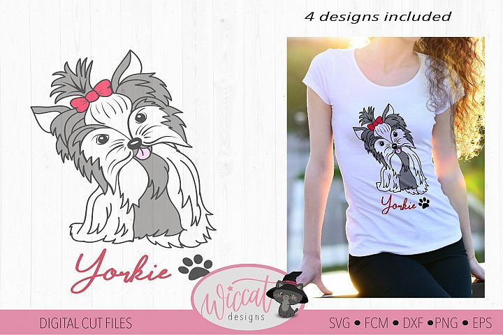 Yorkie svg, Yorkie color svg, Girl dog, girly dog svg