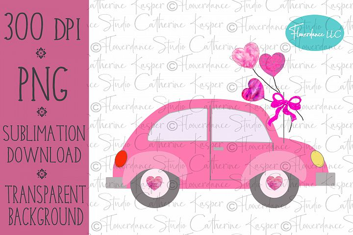 Valentine Car PNG Sublimation Design, Watercolor Hearts