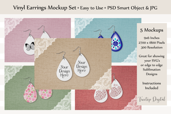 Vinyl Earring Mockup, PSD & JPG, for SVG or Sublimation Art