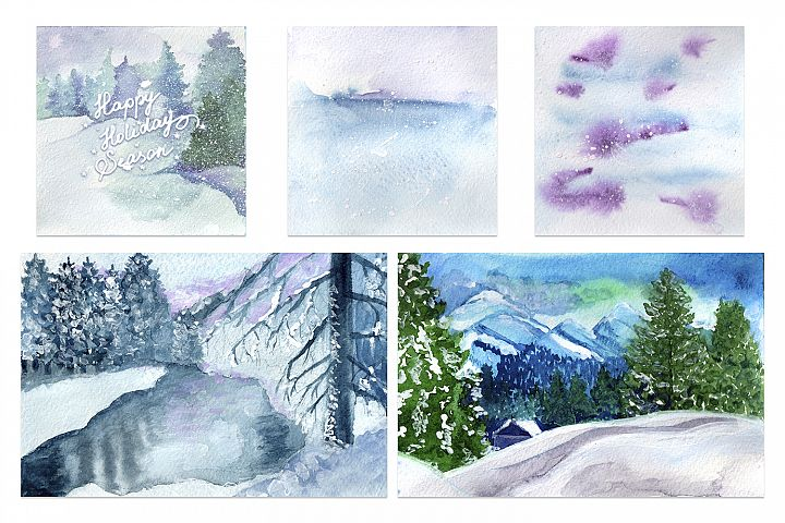 Happy holiday season watercolor set