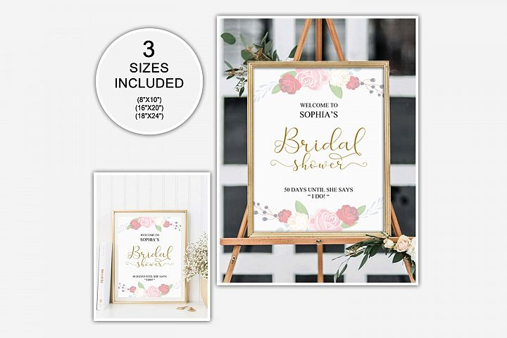 Gold welcome bridal shower sign, Welcome printable, DAD_24