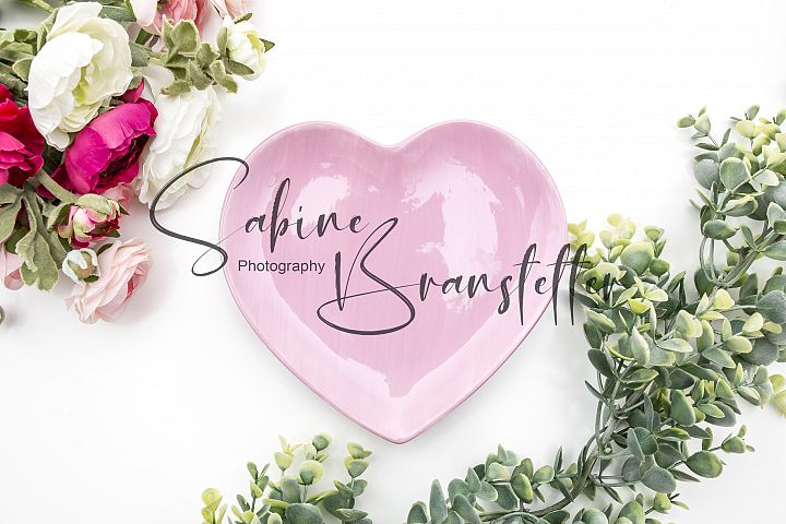 Styled Stock Photo Pink Heart Plate Valentines Day Mockup