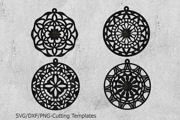 Mandala leather wood earrings bundle machine cut templates