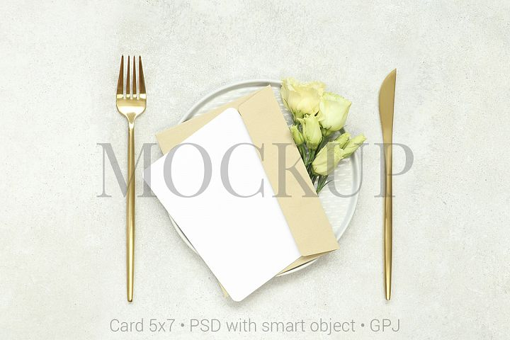 Mockup card with gold cutlery & FREE BONUS