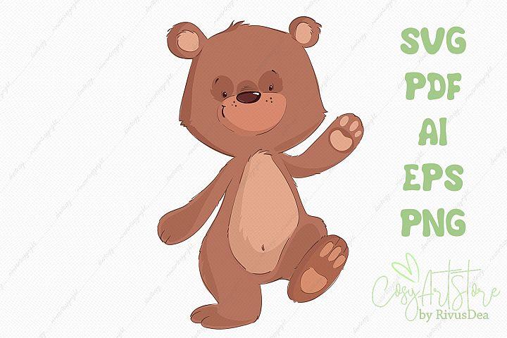 Cute teddy bear SVG PNG vector clipart