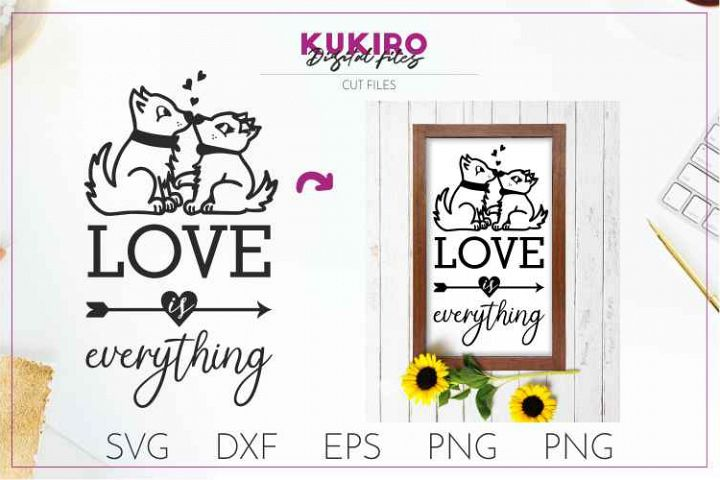 Love is everything - Kissing cats SVG- Wedding cut files